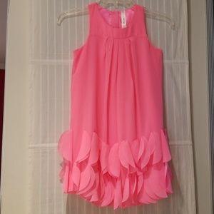 Girls Cherokee Neon Pink Dress w/ Ruffles